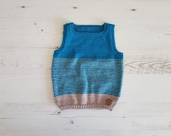 Knitted Baby Vest, Hand Knit Vest, Baby Sweater, Kids Knit Vest, Baby Shower Gift, Baby Gift, Tank Top, Knit Toddler Vest, Sleeveless Top