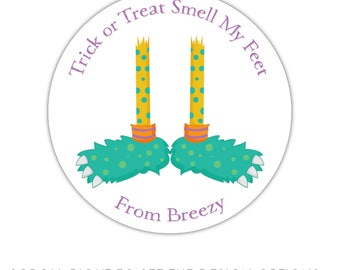 Personalized Halloween stickers, monster feet, treat labels, party favor sticker labels, Halloween favor tags, Halloween label stickers