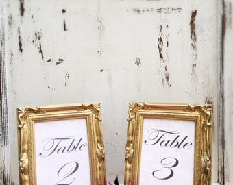 SET OF 10, 5x7, Wedding Table Number Frames, Gold, French Country, Ornate, Baroque, Vintage Antique Style, Shabby Chic