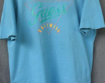 Vintage Guess By George Marciano T Shirt//Big Logo//Made in Usa//Single Stitch