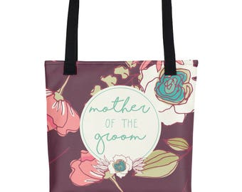 Tote bag - Joyful Flowers - Mother of Groom - maroon