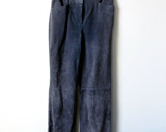 90s Gray Leather Boot Cut Pants - 90s Pants - Leather Boot Cut Pants - 90s Boot Cut - Vintage Leather - Women's Size 8