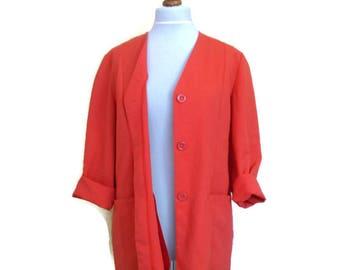 Vintage Red Blazer, Coral red blazer, Womans blazer, Light jacket, Red blazer, Boxy blazer, boyfriend blazer, Bright blazer, finnish design