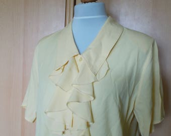 Vintage Ruffle shirt, Ruffled shirt, Yellow shirt, Ruffled blouse, Yellow blouse, Vintage blouse, retro blouse, yellow top, size L