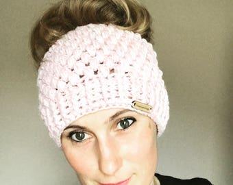 Messy Bun Ponytail Crochet Beanie Hat - Adult size