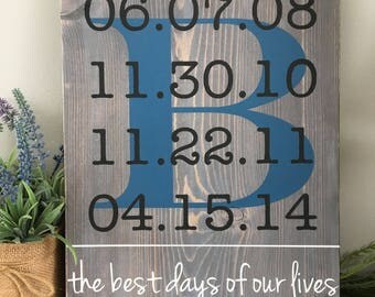 Family Name Wood Sign, Family Date Sign, Family Timeline, Personalized Family Name Sign, Family Initial Sign, Best Days of Our Lives