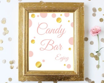Candy Bar Sign ~ Pink Gold Bridal Shower ~Polka Dot Shower ~ Party Printable Sign GldBridal20