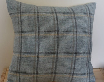 Wool square cushion cover with fibre insert in green with grey and yellow stripes, scatter cushion, checked pillow, tartan cushion,