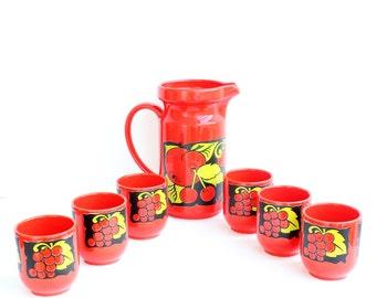 Waechtersbach Pitcher Set,Ceramic Pitcher Set,Fruits Pitcher Set,Pitcher With 6 Glasses,Harvest Collection Set,Vintage Pitcher Set