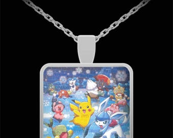 """Necklace POKEMON! Pikachu, Meowth, Magikarp & Friends! Awesome collection of popular Pocket Monsters on this 22"""" Silver Necklace With Charm!"""