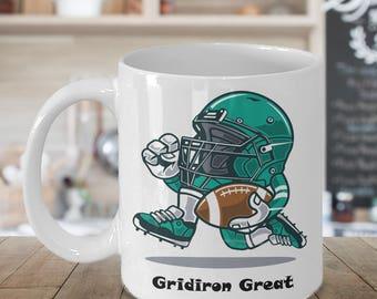 FOOTBALL GRIDIRON GREAT Mug Funny Coffee Lover Football Player Coach Referee Fan Cartoon Lover Gift 15 oz White Coffee Cup / Tea Cup / Mug!