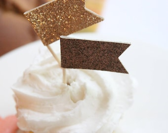 Wedding Cupcake Toppers, Bronze Glitter, Wedding Decoration, Rose Gold, Rehearsal Dinner , Bling, Engagement Party, Bridal Shower, Birthday