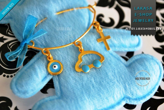 Blue Enamel Car Baby Brooch Sterling Silver Gold Handmade Jewelry Cross Eye Mama Happy Shower Day Religious Baptism Newborn Boy