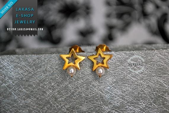 Freshwater Pearl Star Stud Earrings Sterling Silver Goldplated Greek Handmade Jewelry Birthday Gift Mother Girl Elegant Style Woman Blue Sky