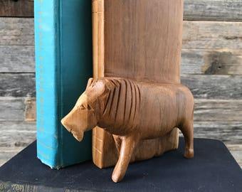 Vintage Carved Wood Lion Bookend, Shelf Scape, Office Decor