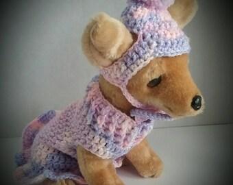 X Small dog dress + Hat set, Chihuahua dress