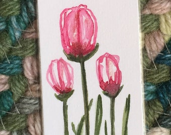 An Original Watercolor Bookmark, Tulips