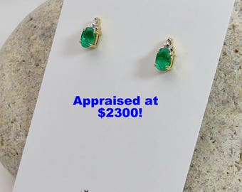 18K Gold | Vintage Emerald Earrings | Diamond Earrings | Vintage Earrings | Emerald Earrings | Emerald Diamond | Vintage Jewelry
