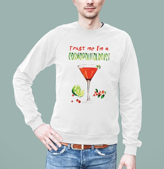 Cosmopolitan Cocktail Pun | American Apparel Unisex California Fleece Raglan |Graphic Sweatshirt | Original artwork | ZuskaArt