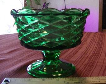 Vintage Emerald Green Glass Pedestal Candy Dish By Fostoria