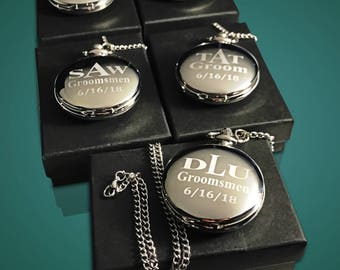 5 Personalized pocket watch - 5 Best Man & Groomsmen Gifts - Engraved pocket watch with gift box - Brother in law gift for men - Weddings