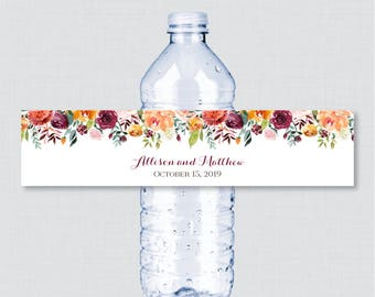 Printable OR Printed Wedding Water Bottle Labels - Rustic Fall Flower Water Bottle Labels - Autumn Floral Personalized Bottle Labels 0008
