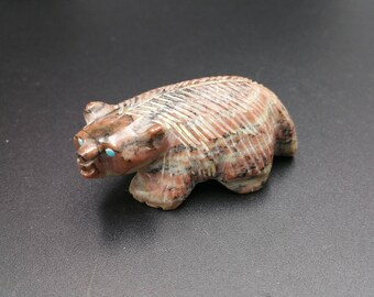 Zuni Badger Fetish Carved Jasper Tsethlikai