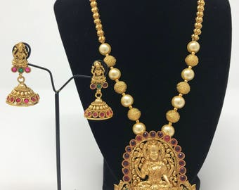 Indian Temple Jewelry Set - Temple Lakshmi Jewelry Set  - Temple Earrings - Indian Jhumki Earrings - Lakshmi Jewelry - Bollywood Jewelry -