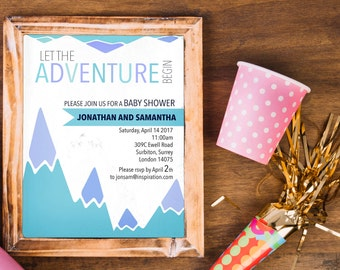 Adventure Baby Shower Invitation / Digital Baby-Boy Shower Invitation / The Adventure Begins / Baby Shower Printable