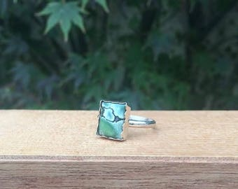Silver Turquoise Ring / Sterling Silver Ring / Square Turquoise / Turquoise Stack Ring/ Small Turquoise / Green Turquoise / Little Turquoise