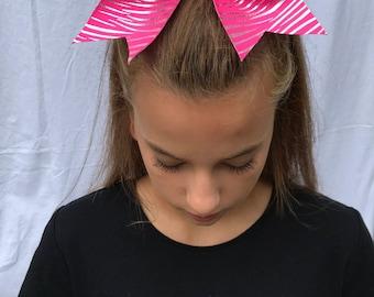 Pink Zebra Cheer Bow