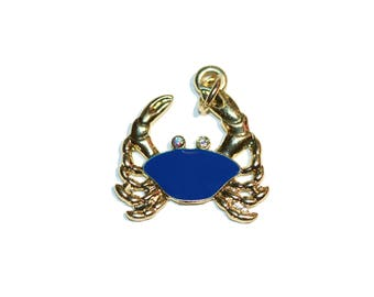 Charms Crab Charm Blue Enamel Crab with Rhinestones Crab Jewelry Crab Charm Necklace