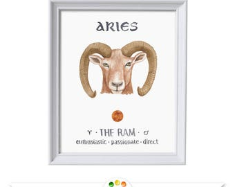 Aries the Ram Printable Wall Art, Watercolor Zodiac Sign Art Print,  March or April Birthday Gift, Instant Download