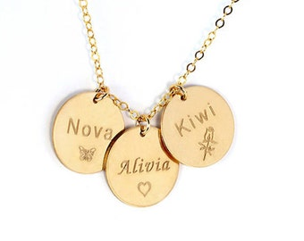Personalized disc Necklace, Disc Necklace with Stone, Monogram disc, Engraved disc necklace, Charm necklace, Silver disc necklace, Gold.