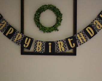 Happy Birthday Banner / Black & Gold / Hanging Banner / Birthday Party Decor / Child or Adult /