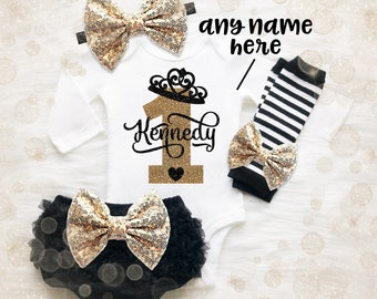 Princess 1st Birthday Shirt | 1st Birthday Girl Outfit | 1st Birthday Crown Shirt | Cake Smash Outfit | Black And Gold 1st Birthday Outfit