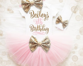 4th Birthday Outfit Girl | Pink And Gold 4th Birthday Tutu Set | 4th Birthday Shirt Girl | 4th Birthday Outfit | Birthday Tutu Set