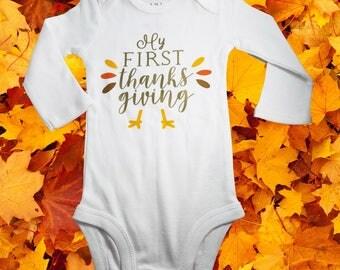 First Thanksgiving Bodysuit, Thanksgiving Clothes, Thanksgiving Shirt, Turkey Bodysuit, Turkey Shirt, 1st Thanksgiving, Turkey Day