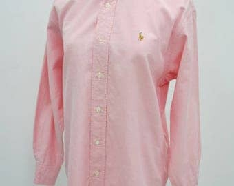 RALPH LAUREN  Vintage Ralph Lauren Lovely Pink Colored Pony Button Down Long Sleeve Shirt Size Women's 9