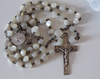 Silver metal rosary mother  of pearl beads / French manufacturing / crucifix Jesus Christ cross / Christian catholic / Vintage antique