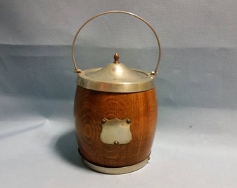 Vintage Biscuit Barrel, Oak and Silver Plate