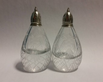 Etched Crystal Salt and Pepper Shakers with Sterling Tops