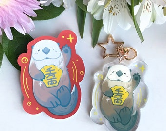 Lucky Awwter Keychain, Sticker | Kawaii Otter, Lunar New Year, Chinese New Year, Lucky Cat, Maneki Neko, Cute Ocean Animals