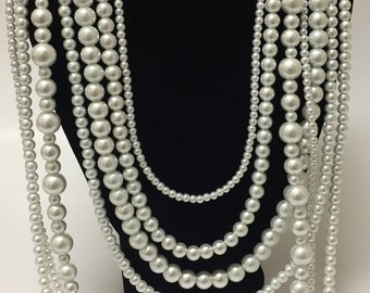 White Pearl Drape Necklace, Bridal Necklace, Wedding Jewelry, Pearl Wedding, Elegant Bridal, Statement Jewelry, Bella Bullara, Item 414