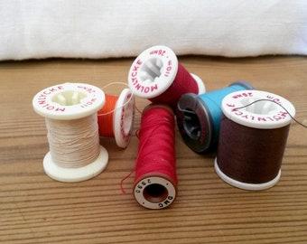 6 Thread Spools, Sewing Thread, Molnlycke Spools, Wooden Spools, Sewing Decor, Craft Spools