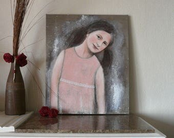 """Painting 54 x 65 cm """"Come?"""" baby girl lace linen"""