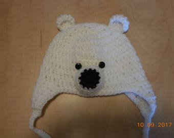 Polar bear baby hat, crocheted baby hat, baby boy hat, baby boy polar bear hat, crocheted polar bear hat