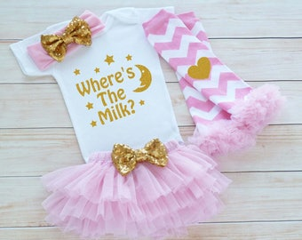 Coming Home Outfit, Baby Girl Take Home Shirt, Baby Coming Home Bodysuit, Where's The Milk, Baby Girl Outfit, Baby Shower Gift, Infant Shirt