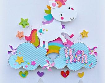 Make A Wish, Unicorn Wall Decor, Unicorn Party Decor, Rainbow Unicorn, Flying Unicorn with Rainbow.