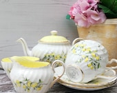 Charming Tea for Two Teaset - English Broom - E Brain and Co Ltd - Foley China Works - Vintage